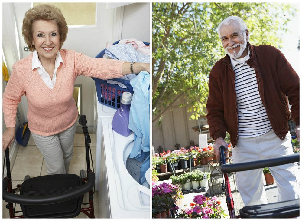 elderly man and woman doing chores